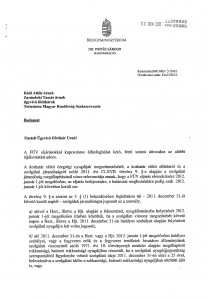 Belügyminiszteri tájékoztató levél 1. oldal